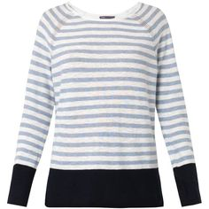 VINCE Striped colour-block cotton sweater ($115) ❤ liked on Polyvore