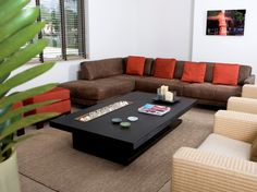 Inspiring Modern Family Room Furniture Added Sectional Beige Couch And Black Rectangle Coffee Table Also White Wall Painted And Grey Area Rugs Ideas Beige Couch, Beige Sectional, Brown Couch Living Room, Modern Sectional, Sectional Sofas, Best Living Room Design, Living Room Designs, Living Room Decor, Living Rooms