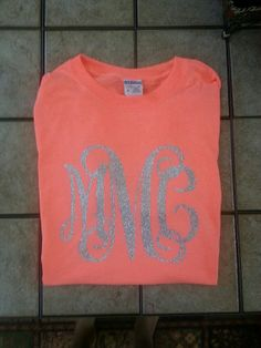 Glitter Monogrammed Shirt by MelsMonogramsAndMore on Etsy, $20.00