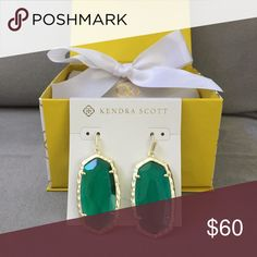 Ella emerald NWT and gift box. Trade or sell. Brand new with tags Kendra Scott Ella earrings with pouch, gift box, bow, and tag. Looking for fair trade or sell. Perfect gift! Kendra Scott Jewelry Earrings
