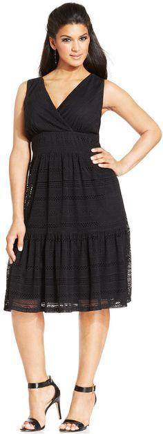 Plus Size Lace Surplice Dress