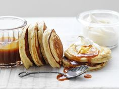 Thrill the family this weekend with these banana pikelets drizzled with homemade caramel sauce and cinnamon cream.