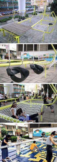 A Public Park in Taipei Welded From Recycled Light Posts natural playground ideas Playground Design, Backyard Playground, Playground Ideas, Children Playground, Modern Playground, Urban Landscape, Landscape Design, Poket Park, Design D'espace Public