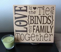 Wooden Vinyl Sign Love is the tie that binds this by HayBugDesigns, $15.00