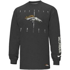 Nike Denver Broncos 50-Yard Line Heathered Long Sleeve T-Shirt - Charcoal