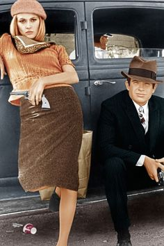 (1967) Faye Dunaway and Warren Beatty in Bonnie and Clyde.  This film sparked a much-copied fashion trend at the time set by the stylish Faye Dunaway--a pencil skirt, knit sweater top, beret and scarf.