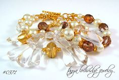 """Pop the Bubbly"" Crystal Quartz Gemstone Gold Vermeil Bracelet"