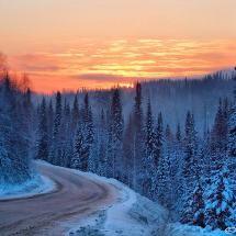 Mountain side road in winter