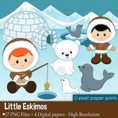 Little Eskimos - Digital paper and clip art set