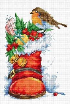 Cross Stitch Kit Christmas boot Cross Stitch Set Luca-S Wall Decor Home decor Hand Embroidery Handmade Gift Punto de cruz Point de croix Xmas Cross Stitch, Counted Cross Stitch Kits, Modern Cross Stitch, Cross Stitch Designs, Cross Stitching, Cross Stitch Patterns, Loom Patterns, Diy Bead Embroidery, Hand Embroidery