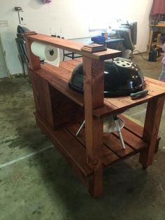 Homemade Wood Grill Table : tvwbb - The Virtual Weber Bulletin Board - An Online Community for Weber Grill Fans Barbecue Weber, Weber Grill, Webber Grill Table, Grill Stand, Grill Cart, Barbacoa, Outdoor Grill Station, Diy Grill, Barbecue