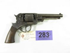 Lot 283 in the August 20th online & live auction! Starr Model 1863 Army in 44 Caliber Double Action Black Powder Percussion Revolver. May be a model 1858. Features a a blued finish (most of the finish has worn off), wood grips, 6 inch barrel, 6 shot-cylinder, fixed sights, steel frame. Condition grades at 80% due to wear from use and age. A rare firearm that was used during the Civil War. Antique Black Powder Pistol. #gun #firearm #POGAuctions