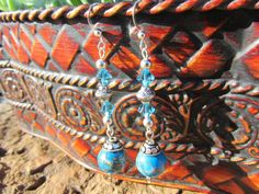 Peacock Blue and Tan Imperial Jasper with by NaturesRandMDesign