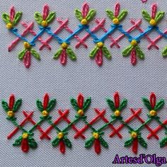 Bordado a Mano: Puntadas Decorativas 6 patterns afghan patterns crochet patterns afghan scarf blanket Diy Embroidery Patterns, Border Embroidery Designs, Basic Embroidery Stitches, Hand Embroidery Videos, Embroidery Stitches Tutorial, Embroidery Flowers Pattern, Creative Embroidery, Simple Embroidery, Learn Embroidery