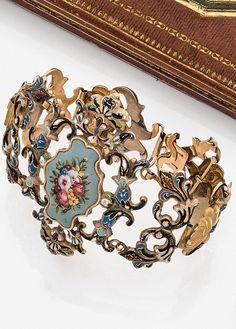 An antique 18K gold and enamel bracelet, 19th century. #antique #bracelet