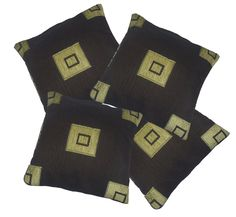 4 Pack Chocolate & Lime Square Pattern Woven Tapestry Fabric Cushion Cover