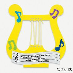 """""""Praise The Lord"""" Harp Craft idea  (Cut out the harp shape using foam or card stock)"""