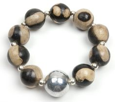 Azacualpa Bracelet - Black  Cream  Price : $25.00 http://www.enloops.com/Enloops-Azacualpa-Bracelet-Black-Cream/dp/B009I9GLMK