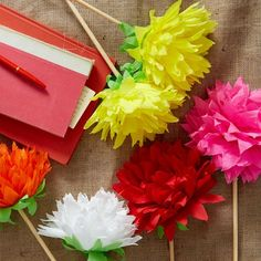 "Dahlia Mexican Crepe Paper Flowers - Create lasting bouquets bursting with color. Our Mexican Paper Flowers are handcrafted by traditional artisans. Made of dense crepe paper, each oversized bloom rests on a wood stem so they sit easily in any vase. Sold individually. 8.5""h. ($7.99/was $10.00)"