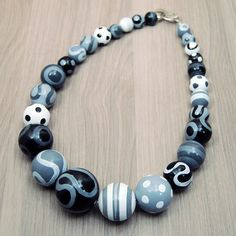 Statement Necklace  Hand-painted Wooden Beads  Black  by cucuu