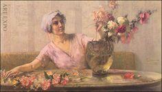"""Woman with flowers'' by Georgios Iakovidis .- ''Γυναίκα με λουλούδια"" Ιακωβίδης Γ."