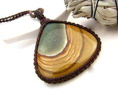 Wild Horse Jasper,  Picture Jasper necklace, Jasper Pendant, Jasper stone,  Healing jewelry, Southwestern jewelry, boho pendant, macrame