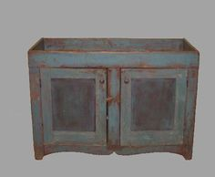 PAINTED DRY SINK. Pine with old blue paint over r