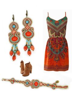 Saturated coral red and delightful turquoise make us sizzle with boho style! #DoriCsengeri #coral #turquoise #bohostyle #bohochic #boho #accessories