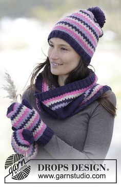 "Chilly Sunset - Set consisting of hat, neck warmer and mittens with graphic pattern and rib in ""Nepal"". - Free #knitting pattern by DROPS Design"