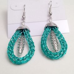 Teal green and silver viking knit ladies dangle earrings by DonnaDStore on Etsy