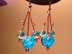 Blue Vintage Glass Beaded Earrings - Upcycled beads and copper wire on Etsy, $18.00