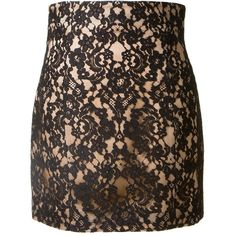 BALMAIN lace skirt ($1,840) ❤ liked on Polyvore featuring skirts, balmain, knee length lace skirt, lacy skirt, brown skirt, brown lace skirt and lace skirt