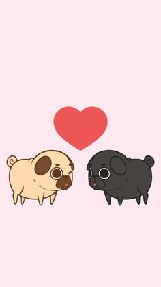 Pug, cute, and love image Cute Animal Drawings, Cute Drawings, Funny Pug Pictures, Pug Quotes, Cute Dog Wallpaper, Pug Gifs, Baby Pugs, Pug Art, Pug Love