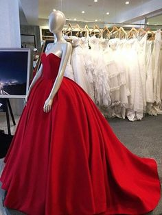 Long prom dress,Red ball gown, sweet heart prom dress, simple charming prom dress, evening dress gown, long prom dress with small trainPD2101146