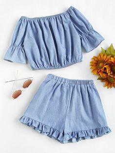 #AdoreWe #ROMWE ROMWE Bardot Crop Top With Frill Hem Shorts - AdoreWe.com