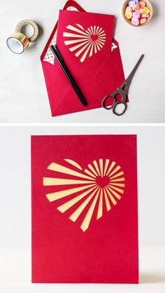 DIY Heartburst Valentine's Day Card.