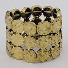 Hammered Antique Gold Stretch Cuff