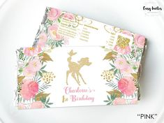 Pretty floral glitter deer Birthday Chocolate Wrapper, perfect for a Bambi or Woodland themed birthday party or baby shower. Matching Birthday invitation: http://etsy.me/2hBgnT4 Matching printed stickers: http://etsy.me/2APGihq This listing is for a digital printable file of chocolate