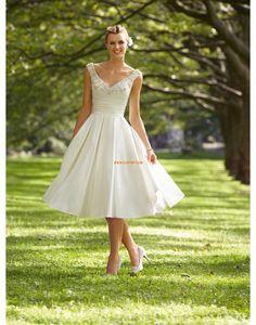Áčkový střih Retro inspirace Satén Svatební šaty 2015