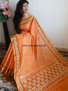Banarasee/Banarasi Handloom  Cotton Silk Mix Jamdani Sari-Orange