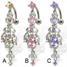 Reversed chandelier belly button ring.  #piercing #piercingjewelry #jewelry #bodypiercing #bodyjewelry ♥ $13.99 via OnlinePiercingShop.com