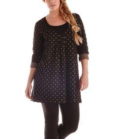 Pont Neuf Black & Brown Polka Dot Tunic - Women & Plus Polka Dot Top, Black And Brown, That Look, Tunic Tops, Places, Shopping, Clothes, Women, Fashion