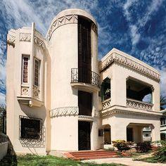 A 1936 Art Deco house, designed by Angel López Valladares, in Havana's suburban Marianao district.
