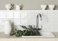 "Winchester Tile Co. Metropolitan, Chalk White tile, 5"" sq 