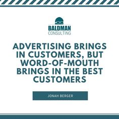 Nielsen report that of consumers believe suggestions from friends and family more than advertising. How are you reminding your current customer to tell others about your business? Word Of Mouth, Marketing Quotes, Build Your Brand, To Tell, Believe, Advertising, Good Things, Friends, Words
