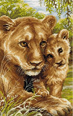 Lioness with Cub Cross Stitch Kit By Riolis
