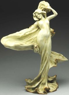 May 25th Auction. Amphora Loie Fuller Dancer Figural Sculpture. Depicts the dancer Loie Fuller. #Amphora #Pottery #MorphyAuctions