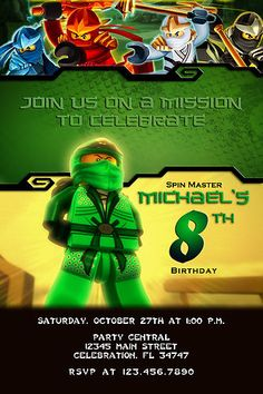 LEGO  GREEN NINJAGO #3 CUSTOM BIRTHDAY PARTY INVITATION PHOTO PRINTABLE