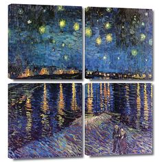 'Starry Night over the Rhone' by Vincent Van Gogh 4 Piece Painting Print Gallery-Wrapped on Canvas Set