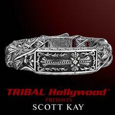 Unkaged Gothic Cross Scott Kay Mens Sterling Silver Bracelet Skull Watch